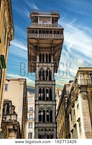 Historic elevator Santa Justa lift in Lisbon Portugal. Elevador de Santa Justa