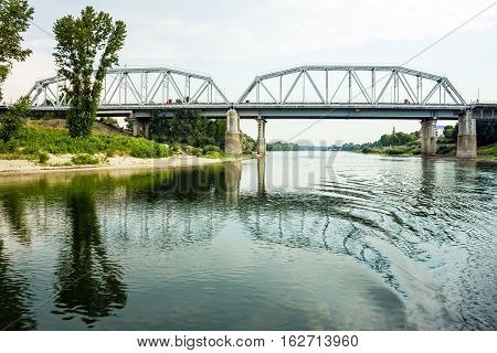 Landscape - bridge and river bank of Dniester in Bender, Transnistria, Moldova.
