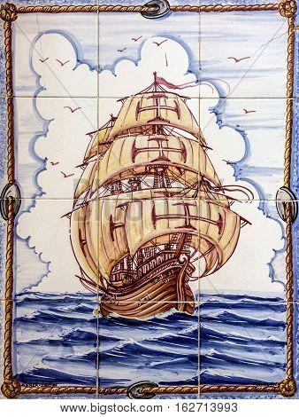 LISBOA, PORTUGAL - MAY 4, 2016: Ancient ceramic tile museum Azulejo Lisbon Portugal. Sailing of vessel Santa Maria da Colombo Madeira.