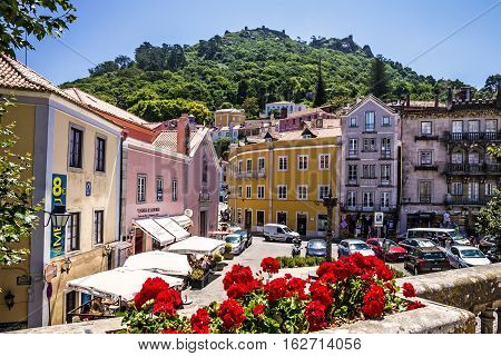 Sintra Portugal - MAY 5, 2016: Historical houses in famous town Sintra.
