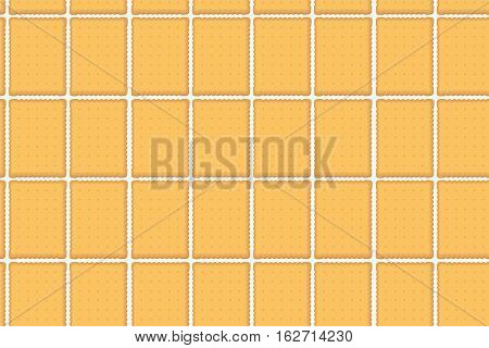 Cookie cracker cookies pastry sweet salted seamless brick pattern background texture wall. Vector close-up beautiful fabric sample wave horizontal isolated white top front view flat design color art