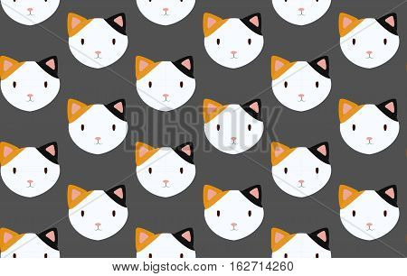 Cat cats head face grapnel puss grapple pussycat tomcat male female gib muzzle flat design art seamless pattern background texture wallpaper. Vector beautiful closeup horizontal animal illustration