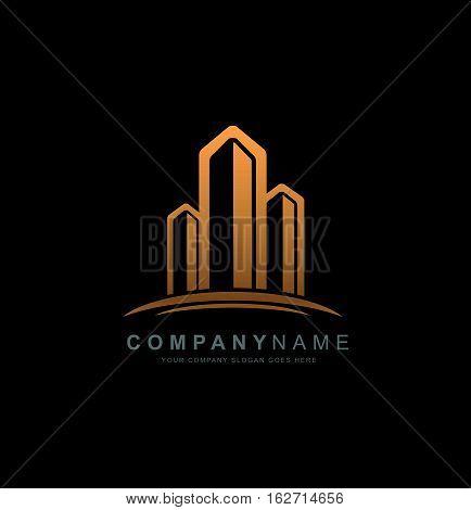 Real Estate Logo Design. Building Logo with Skyscrapers