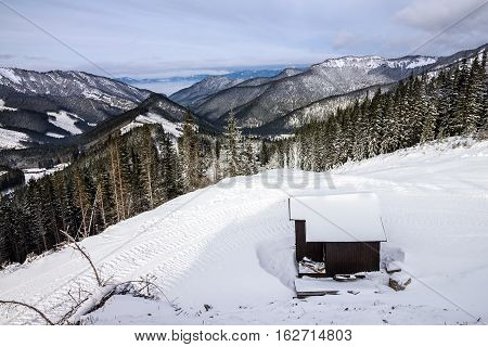 Mountain scenery winter Tatry landscape forest Slovakia