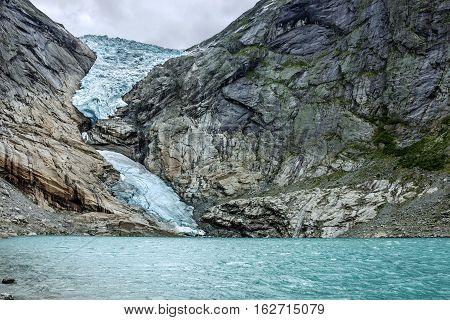 Glacier Briksdal, Norway. Natural landscape, National park Jostedalsbreen