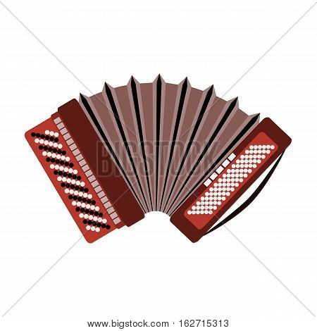 Harmonic icon. Russian accordion musical instrument isolated on a white background. Vector illustration.