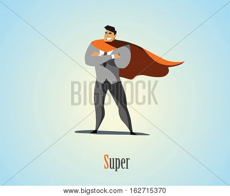Vector illustration of businessman superhero, business power icon, blue suit with red cape, Super Hero cartoon man character.