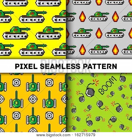 Pixel art vector objects to Fashion seamless pattern. Background with tanks, boom, for boys. trendy 80s-90s pixel art style. Retro computers game elements