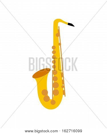 Silhouette of a saxophone on the white background. Saxophone icon. Vector illustration.