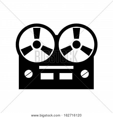 Old reel tape recorder icon. Vector illustration.