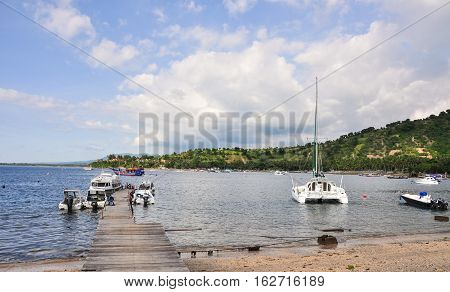 Boats Docking At Tourist Pier In Lombok