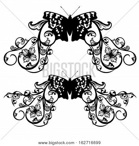 butterfly and flowers black and white vector decor