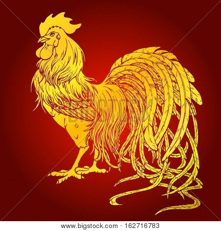 Handsome gold rooster on red background. Fiery red rooster symbol of the Chinese new year 2017. Vector illustration.