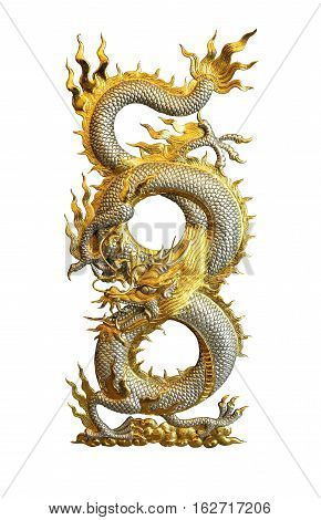 Silver Golden Dragon isolated on white background clipping path