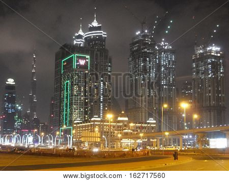 DUBAI, UAE - DEC 10: Al Habtoor City in Dubai, UAE, as seen on Dec 10, 2016. Al Habtoor City consists of three hotels operated by Marriott International: The St. Regis Dubai, W Dubai - Al Habtoor City and The Westin Dubai, Al Habtoor City.