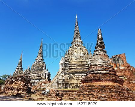 part of Wat Phra Sri Sanphet in the Ayutthaya Historical Park. Thailand.