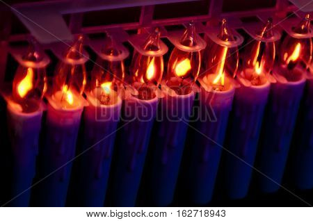 elecrtic candles christmas light decoration, holidays, winter