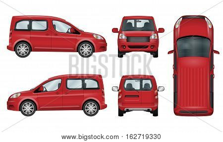 Red car vector template. Isolated family vehicle set on white background. All elements in groups on separate layers. The ability to easily change the color.