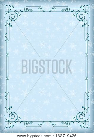 Whimsical blue rectangular frame and winter background with snowflakes. A4 page proportions.