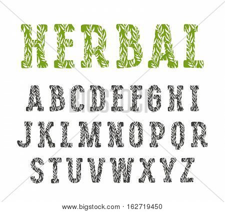 Slab serif decorative font with herbal texture. Isolated on white background
