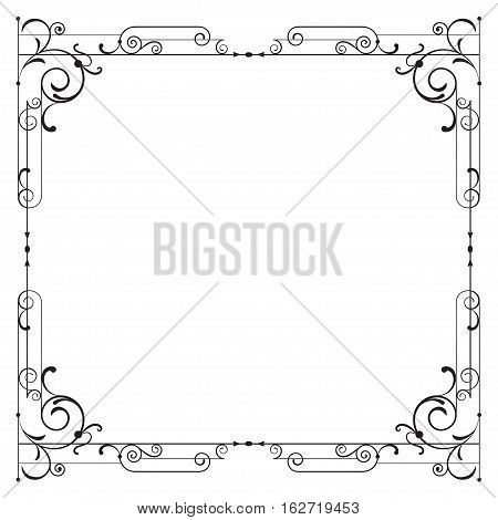 Whimsical black square frame with vignettes. Page decoration.
