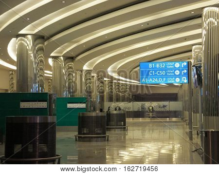 DUBAI, UAE - DEC 11: The newer Terminal 3 (Emirates) at Dubai International Airport, one of the busiest airports, as seen on Dec 11, 2016. It is the single largest building in the world by floor space.