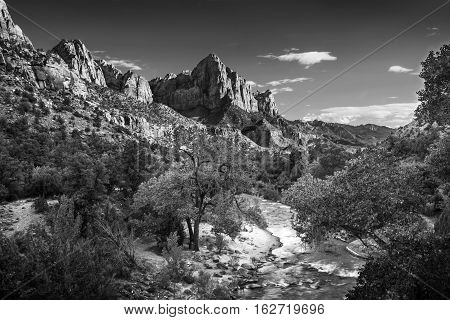 Zion Canyon and the Virgin River in Utah photographed in black and white.