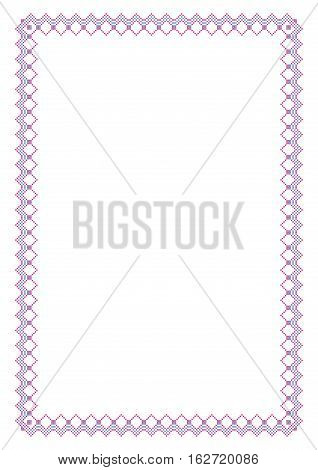 Decorative rectangular frame, cross-stitched embroidery imitation. A4 page proportions.