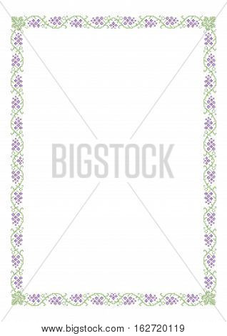 Decorative rectangular frame, cross-stitched embroidery imitation with grape and leaves. A4 page proportions.