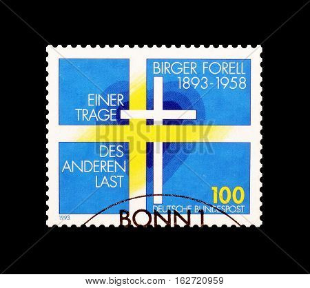 GERMANY - CIRCA 1993 : Cancelled postage stamp printed by Germany, that shows Birger Forell.