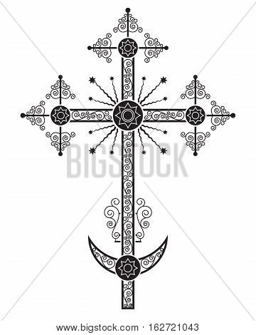 Orthodox crucifix, one of the variations, usually is installed on the church dome. Silhouette, stencil. Only black color.
