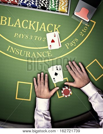 poker player at blackjack casino table in aerial view