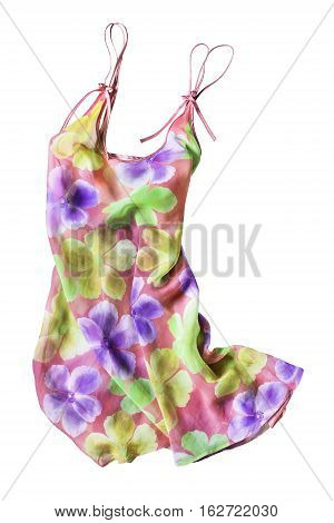Colorful floral chiffon sundress isolated over white