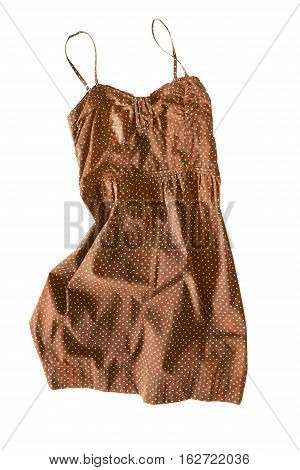 Brown crumpled sundress isolated over white background