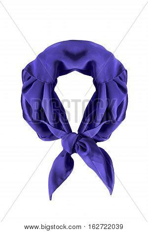 Tied purple silk neckerchief on white background