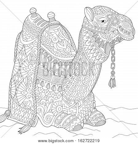 Stylized cartoon camel isolated on white background. Freehand sketch for adult anti stress coloring book page with doodle and zentangle elements.