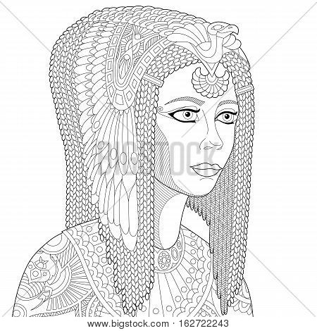 Stylized cartoon ancient egyptian queen Cleopatra (Nefertiti) isolated on white background. Freehand sketch for adult anti stress coloring book page with doodle and zentangle elements.