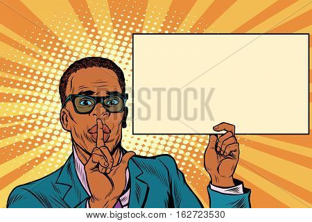 African businessman asking for silence, Billboard poster, pop art retro vector illustration