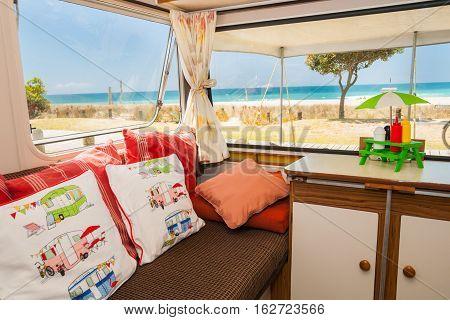 Summer holidaying in retro lusury caravan at beach Mount Maunganui New Zealand