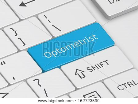 The word Optometrist written on a blue key from the keyboard