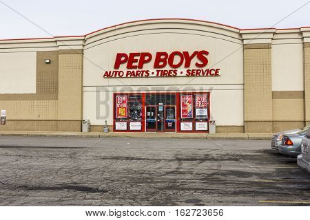 Indianapolis - Circa December 2016: Pep Boys Auto Parts Retail Location. Pep Boys is a full-service and tire automotive aftermarket chain II