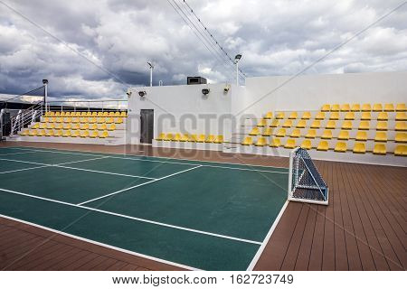 CRUISE LINER SPLENDIDA - MAY 10, 2016: Sport field - playground for football on cruise liner Splendida MSC