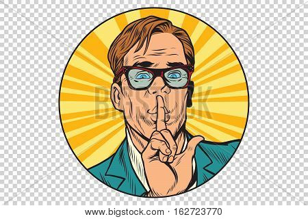 Businessman with a secret, advertising poster, pop art retro vector illustration