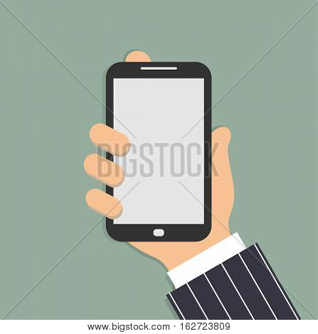 Mobile phone in the male hand. Smartphone in hand of businessman. Sleeve white shirt and a blue and white striped suit. Vector illustration.