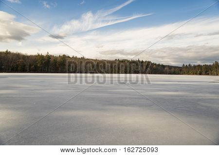 View of an iced lake in New England USA