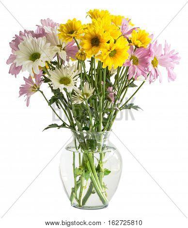 A sad flower arrangement on white background.