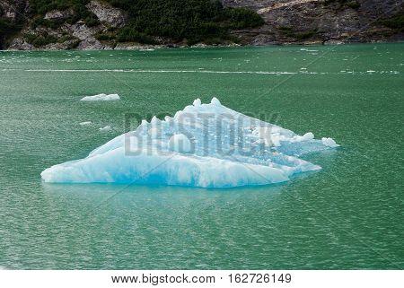 johns hopkins glacier with blue ice in glacier bay in southeast alaska