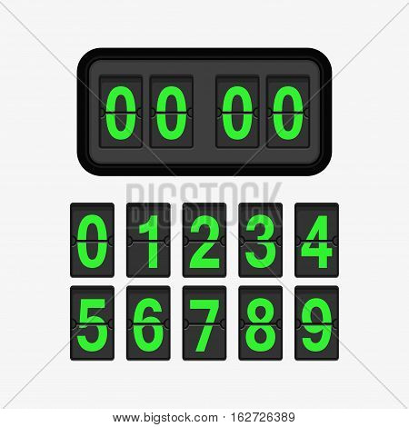 Analog flip clock counter. Retro design with green numbers template. Flat vector stock illustration