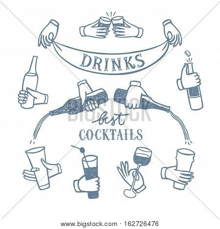 Set of hands with drinks and bottles. Including drinks and cocktails title. Hand drawn brush vector cartoon illustration for your design.