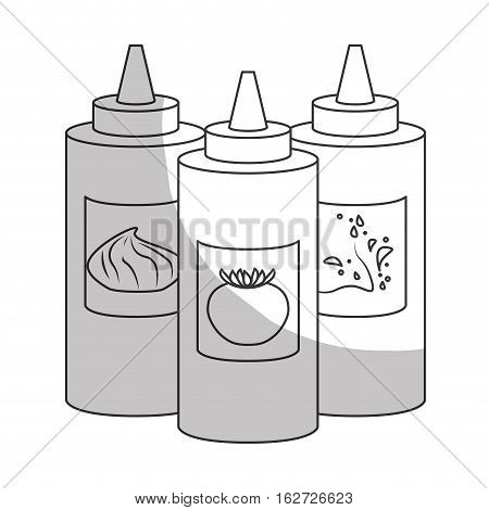 sauce bottle fast food related icon image vector illustration design